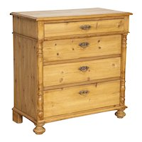 Antique Pine Chest of Four Drawers or Large Nightstand from Denmark