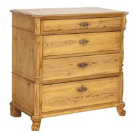 Antique Pine Chest of Drawers With Carved Details And Claw Feet
