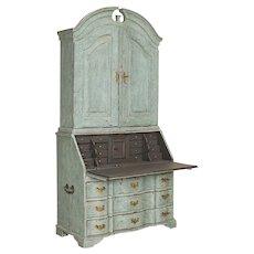 Antique Tall Blue Painted Secretary Bureau from Sweden