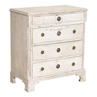Antique Swedish Gustanvian Small White Painted Chest of Drawers
