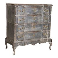 Antique Tall Baroque Oak Gray Painted Chest of Drawers from Denmark