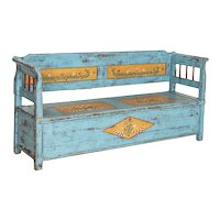 Original Blue Painted Antique Bench With Storage