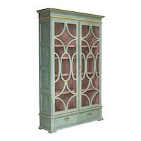 Antique Decorative Blue Painted Bookcase Display Cabinet from Denmark