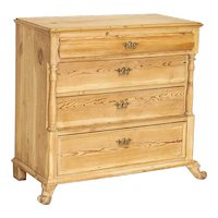Antique Scrubbed Pine Chest of Drawers From Denmark