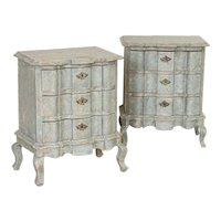 Pair, Antique Swedish Blue Painted Chest of Drawers Nightstands