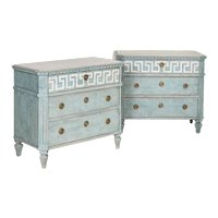 Antique Pair of Gustavian Chest of Drawers Nightstands Painted Blue With White Accent
