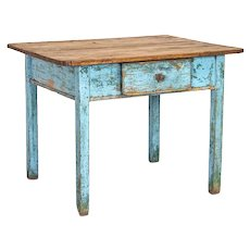 Antique Original Blue Painted Small Farmhouse Table With Drawer