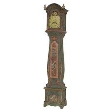 Antique Original Painted Swedish Mora Grandfather Clock, Dated 1786
