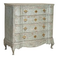Antique Baroque Chest of Drawers With Blue Painted Finish