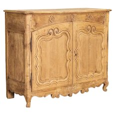 Antique Bleached Buffet Sideboard With Hidden Storage From France