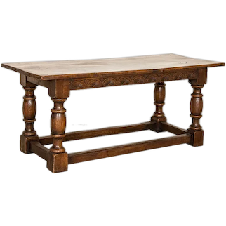 Antique Dark Oak Refectory Library Table With Decoratively Carved Skirt from France