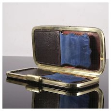 19th Century Blue Leather Cigar Case
