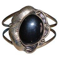 Vintage Mexico Sterling Silver Onyx Cuff Bracelet