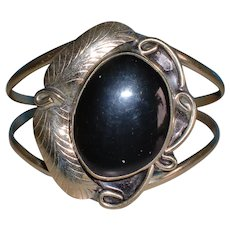 Vintage Mexico Sterling Silver Onyx Cuff Bracelet