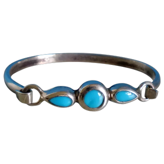 Vintage Mexico 925 Sterling Silver and Turquoise Bracelet