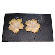 Vintage Hawaiian Carved Hibiscus Earrings