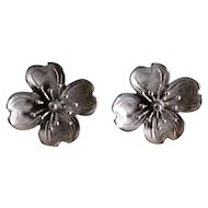 Vintage Sterling Silver Earrings Beau Dogwood Flowers