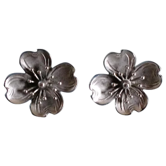 Vintage Sterling Silver Earrings Beau Dogwood Flowers
