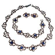 Vintage Symmetalic W.E. Richards Sterling Set Necklace Bracelet Earrings