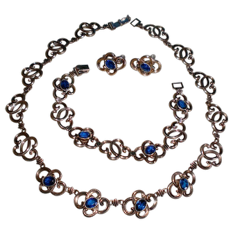 Vintage Symmetalic W.E. Richards Sterling Set Necklace Bracelet Earrings