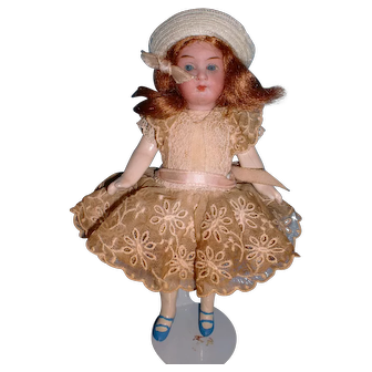 "Antique German 6"" Bisque Head Doll"