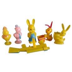 Six  1950's Plastic Easter Toys Chicks and Bunnies Rosbro Knickerbocker