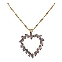 Tanzanite and 14K Heart Pendant with Chain
