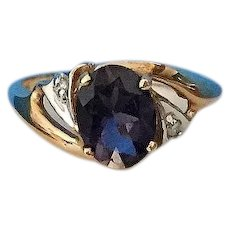 14K Yellow Gold & Deep Amethyst Ring Size 5 1/2