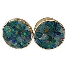 14k Yellow Gold & Blue Opal Lever Back Earrings