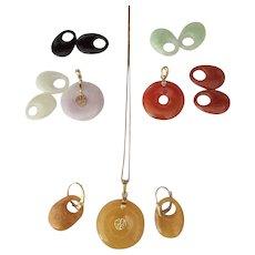 3 Colors Jade 14k gold Pendants & Earrings Sets