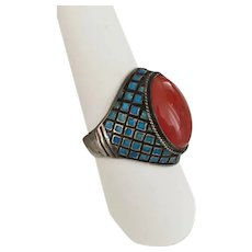 Vintage Carnelian & Enamel Silver Ring Size 8 1/2