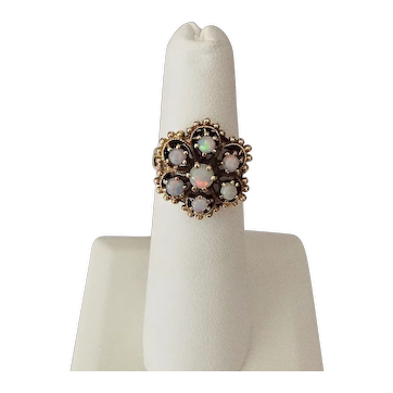 Opal 14k Yellow Gold Vintage Cluster Ring Size 4 1/2