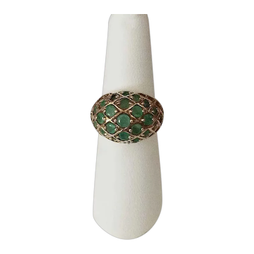 Emerald and gold over .925 SS Dome Ring Size 7