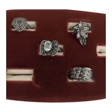 4 Vintage Marcasite SS Rings Various Sizes