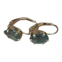 14K Gold & Blue Topaz Lever Back Earrings