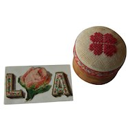 Small antique calling card & box for doll