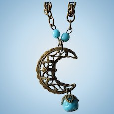 Antique doll crescent moon necklace