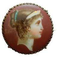 Antique French pin w/box for bebe