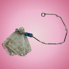 French fashion hanky holder, silver/enamel
