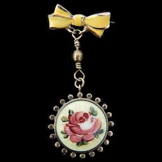 Guilloche enamel watch pin for doll