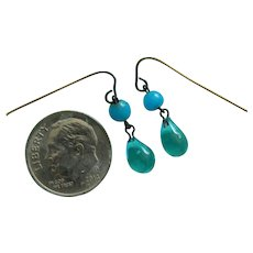 Lovely aqua glass doll earrings