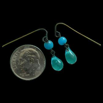 Lovely aqua glass doll earrings