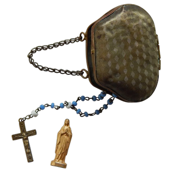 Antique doll purse & rosary