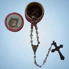 Antique rosary in box for doll