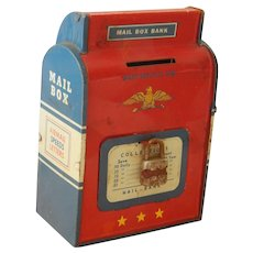 Old tin mail box bank for doll