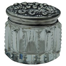 Small antique glass box Sterling lid