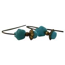"""Jumeau blue"" star earrings for bebe"