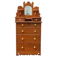 Old highboy dresser for doll