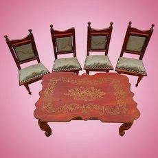Antique dollhouse dining set