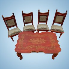 Antique dollhouse dining set
